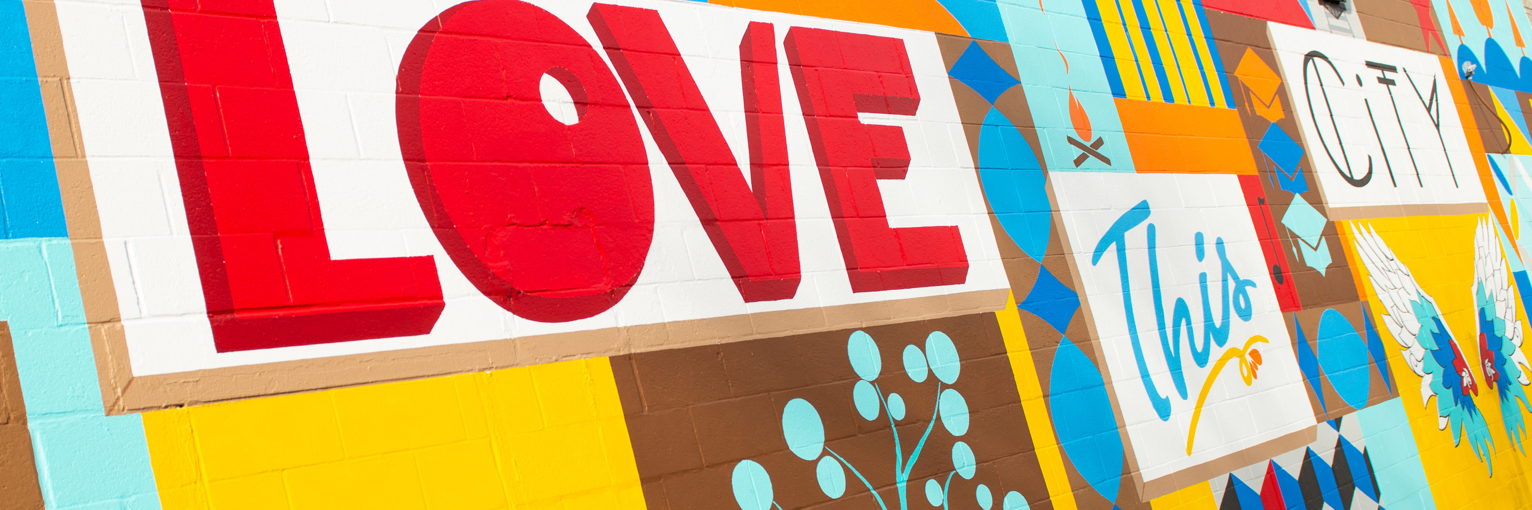 """Love this city"" mural in Bloomington, Indiana"
