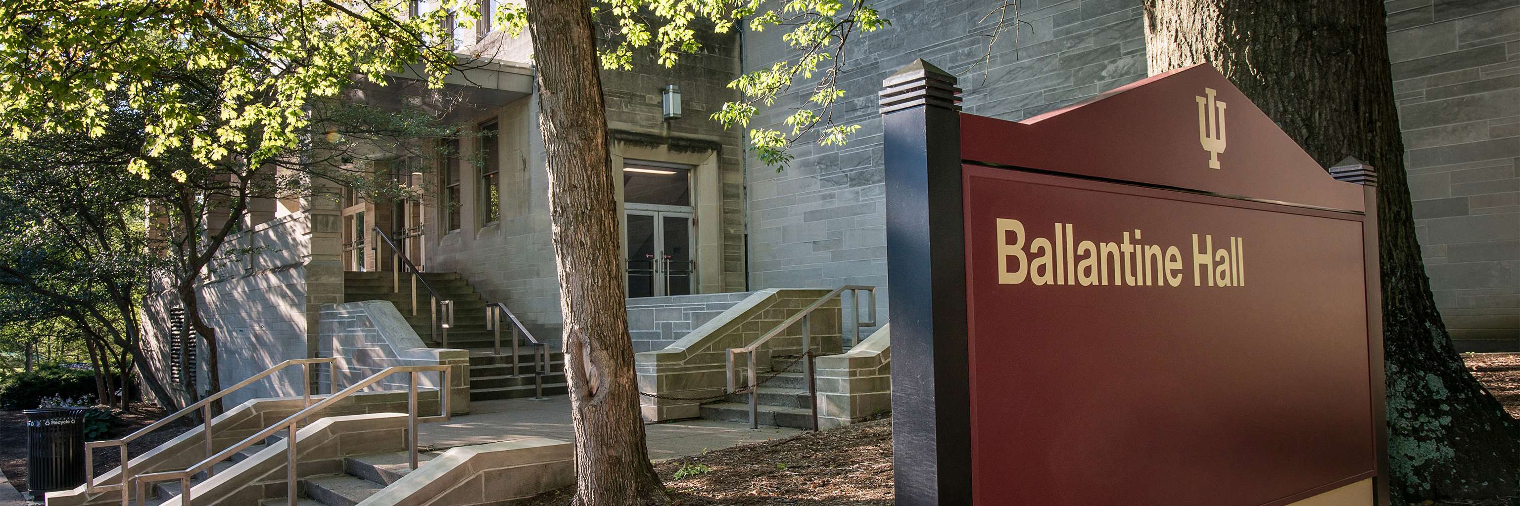 Close up of the building sign for Ballantine Hall.